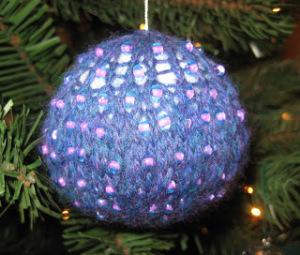 beaded knit ornament